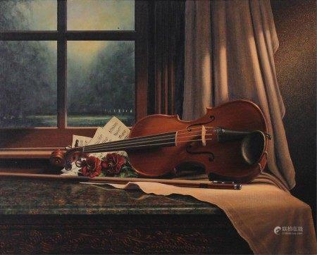 An oil on canvas framed painting