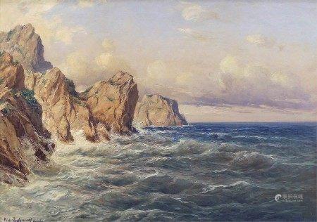 Oil on canvas framed painting, Coast of Capri