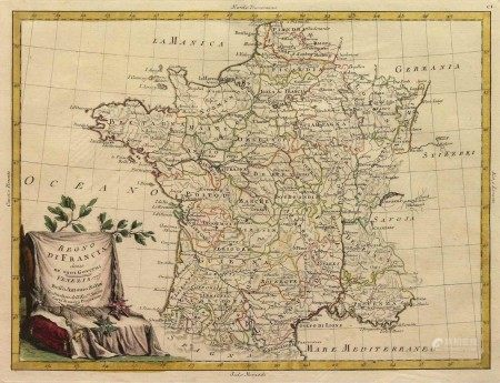 A Vintage Historical France Map