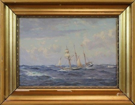 An Oil on Canvas Painting, Sailing Ship