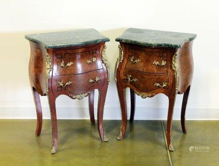 Pair of Vintage French Marble Top Louis XV Style Commodes