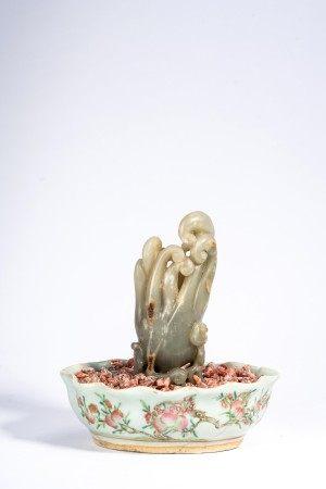Celadon Jade Buddha's Hand Mountain & Famille Rose Planter