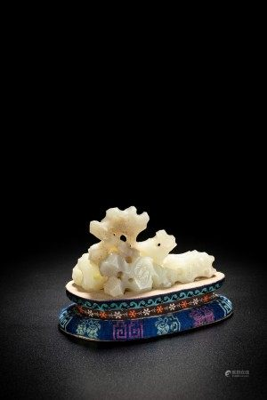 Chinese White Jade Scholar's Rock Carving