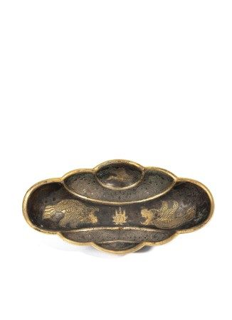 Chinese Silver Gilt Lobed Dish