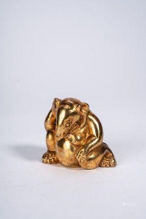 Chinese Gilt Bronze Model of Bear