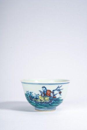 Chinese Wucai 'Immortal on Raft' Wine Cup