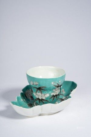 Chinese Turquoise Green Glaze Cup and Stand