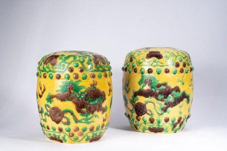 Pair of Chinese Sancai Buddhist Lion Stools