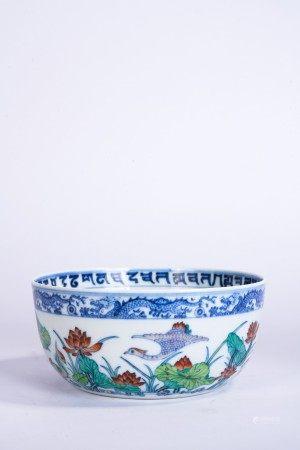Chinese Doucai Lotus Pond Bowl