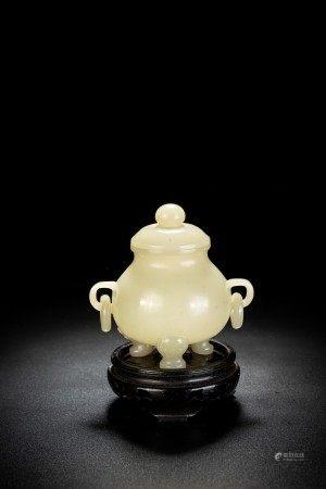 Chinese White Jade Tripod Jar