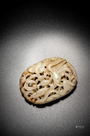 Chinese White Russet Jade Openwork Carving