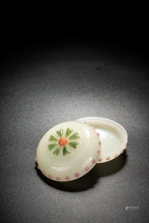 Chinese White Jade Inlaid Ink Paste Box