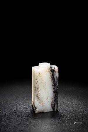Chinese Mottled White and Black Jade Snuff Bottle