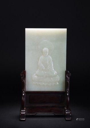 Fine Chinese Nephrite White Jade Buddha Table Screen