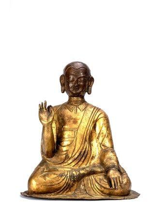 Large Tibetan Gilt Bronze Repousse Lama Figure