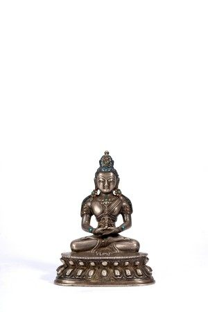 Sino-Tibetan Silver Figure of Amitayus