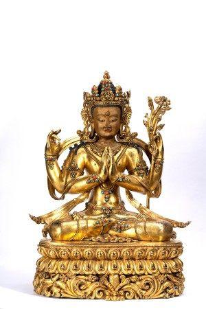 Magnificent Gilt Bronze Figure of Shadakshari