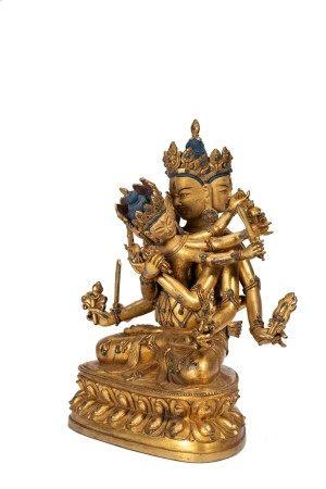 Sino-Tibetan Gilt Bronze Figure of Chakrasamvara