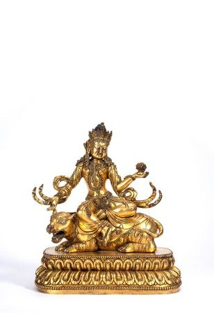 Sino-Tibetan Gilt Bronze Figure of Bodhisattva