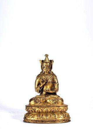 Tibetan Gilt Bronze Figure of Guru Rinpoche