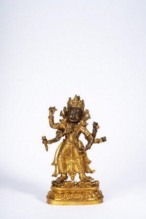 Sino-Tibetan Gilt Bronze Six-Armed Bodhisattva Figure