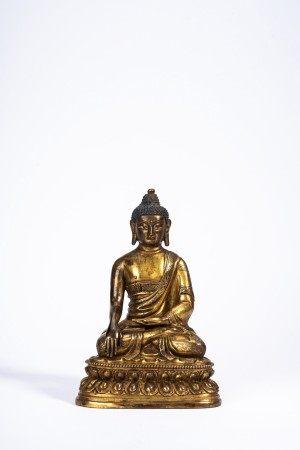 Chinese Gilt Bronze Shakyamuni Figure