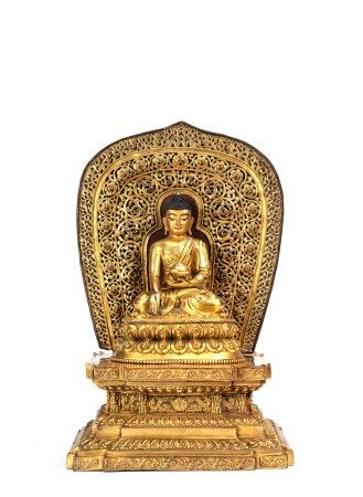 Gorgeous Gilt Bronze Figure of Shakyamuni on Throne