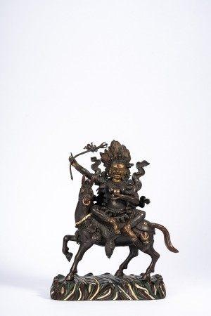 Tibetan Parcel Gilt Figure of Mahakala on Horse