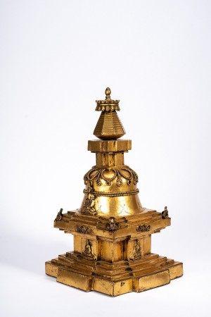 Tibetan Large and Rare Gilt Bronze Stupa