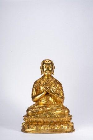 Tibetan Richly Gilt Bronze Figure of Lama