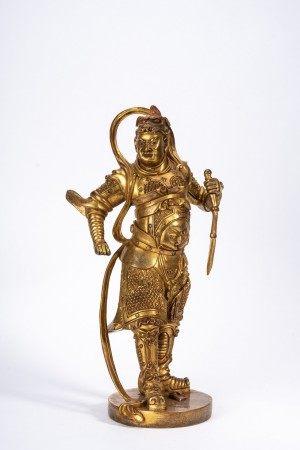 Chinese Gilt Bronze Figure of Guardian Deity