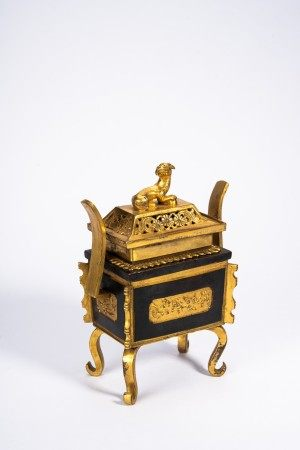 Chinese Parcel Gilt Engraved Censer and Cover