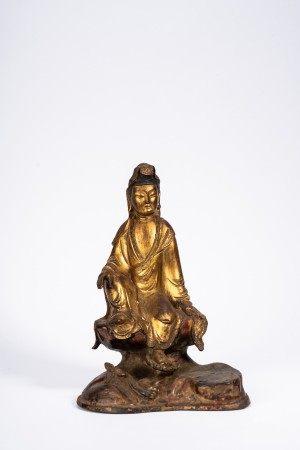 Chinese Gilt Bronze Figure of Guanyin