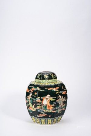 Chinese Famille Verte 'Eight Immortals' Jar and Cover