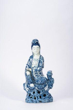 Chinese Blue and White Kuan-Yin Figure