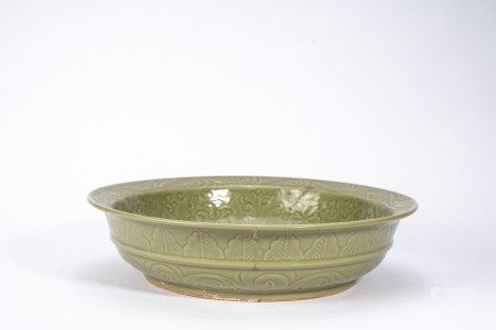 Chinese Longquan Celadon Moulded Charger