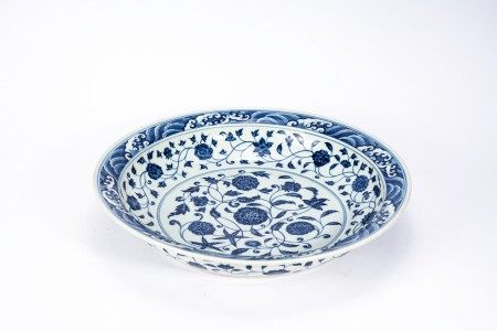 Large Chinese Blue and White 'Lotus' Charger