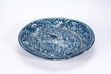 Large Restored Chinese Blue and White 'Sea Beast' Charger