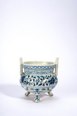 Chinese Blue and White Tripod Censer
