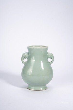 Chinese Celadon Glaze Vase with Elephant Head Handles