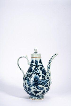 Chinese Blue and White 'Phoenix' Ewer