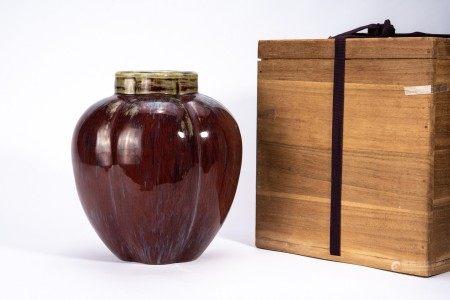 Chinese Flambe Glazed 'Melon' Jar