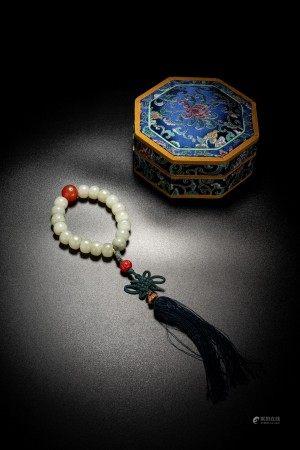 Chinese White Jade Bead Rosary Bracelet