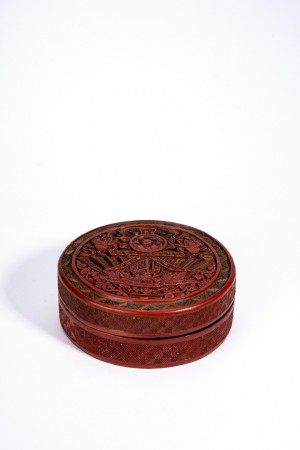 Chinese Polychrome Cinnabar Lacquer Box and Cover
