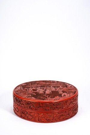 Chinese Cinnabar Lacquer 'Elders' Box