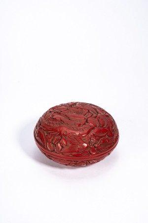 Chinese Cinnabar Lacquer 'Phoenix & Flowers' Box