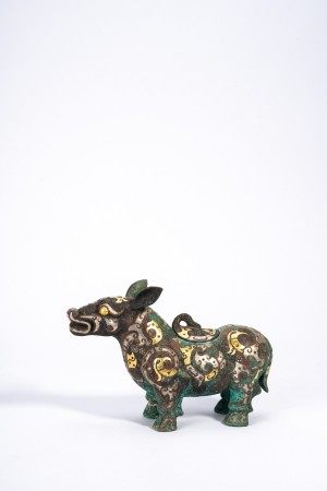 Chinese Archaic Silver & Gold Wire Inlaid Beast