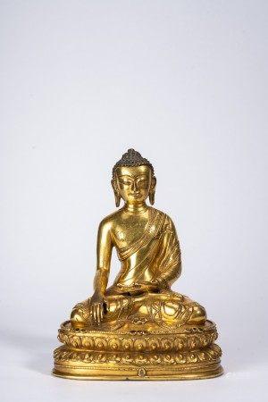Tibetan Gilt Bronze Figure Shakyamuni Buddha