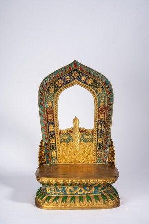 Chinese Gilt Bronze Enamel Buddha Stand