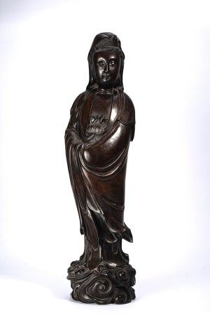 Large Chinese Zitan Carved Standing Guan Yin
